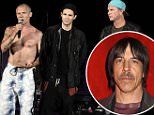 IRVINE, CA - MAY 14:  (L - R)  Flea, Josh Klinghoffer, and Chad Smith of the Red Hot Chili Peppers announce that the band will not perform due to a medical emergency related to Anthony Kiedis, the band's vocalist during KROQ's Weenie Roast at Irvine Meadows Amphitheatre on May 14, 2016 in Irvine, California.  (Photo by Tim Mosenfelder/Getty Images)