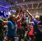 In a Saturday, May 14, 2016 photo, supporters of Democratic presidential candidate Bernie Sanders react during the Nevada State Democratic Party¿s 2016 State Convention at the Paris hotel-casino in Las Vegas. The Nevada Democratic Convention turned into an unruly and unpredictable event, after tension with organizers led to some Bernie Sanders supporters throwing chairs and to security clearing the room, organizers said. (Chase Stevens/Las Vegas Review-Journal via AP) LOCAL TELEVISION OUT; LOCAL INTERNET OUT; LAS VEGAS SUN OUT