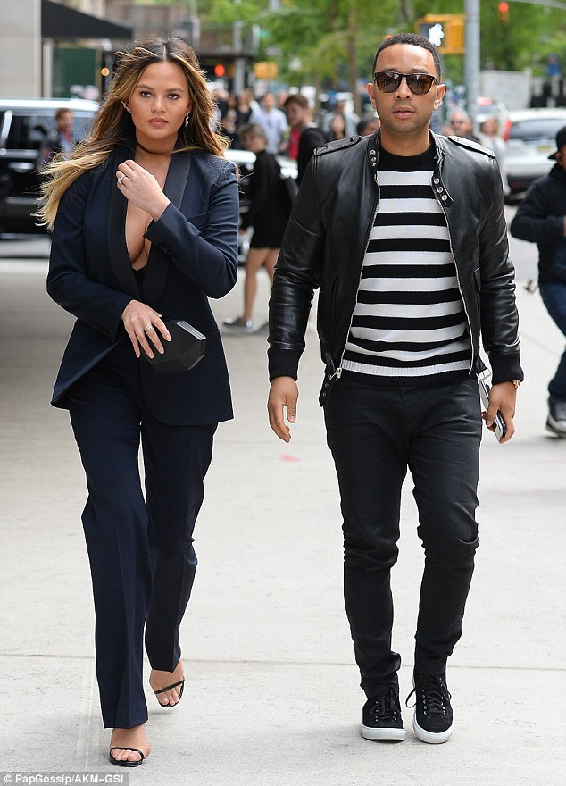Out and about: The couple certainly seemed to enjoy the romantic stroll in the Big Apple