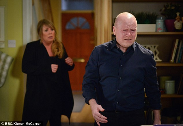 Devastated: She took her life in a heartbreaking episode on Tuesday night and it looks like Peggy Mitchell's death doesn't hit anyone harder than her son Phil as emotions continue to run high in EastEnders on Thursday
