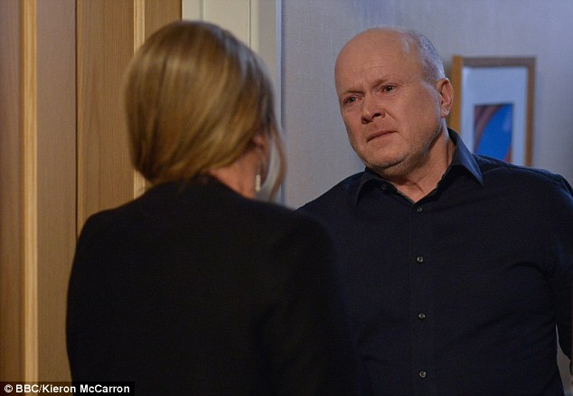 Breaking down: It's no surprise that Phil takes his mother's death particularly hard given his reaction to her proposition of suicide, with the alcoholic labelling his mother 'selfish'