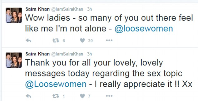 Thanks! Saira admitted she was overwhelmed by the support, tweeting after the show