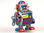 A stock photo of a vintage robot toy.    A73TT8 Fifites style tin robot toy