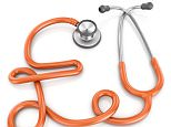 """""""3d render of a stethoscope shaped as a pound sterling currency symbol, healthcare cost concept, isolated on white."""""""