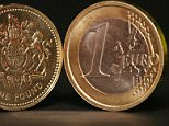 A one Euro coin (right) and a one pound coin. The pound's relentless slide towards parity with the euro picked up pace today after it plunged to another record low against the single European currency.