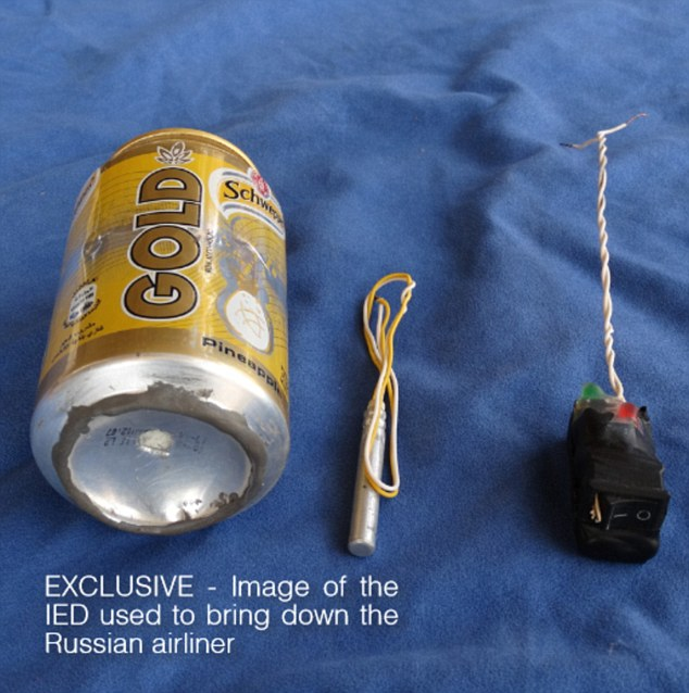 This is a so-called soda can bomb, published in the ISIS magazine, which they claimed to have used to destroy the Russian airliner in October, killing 224 people