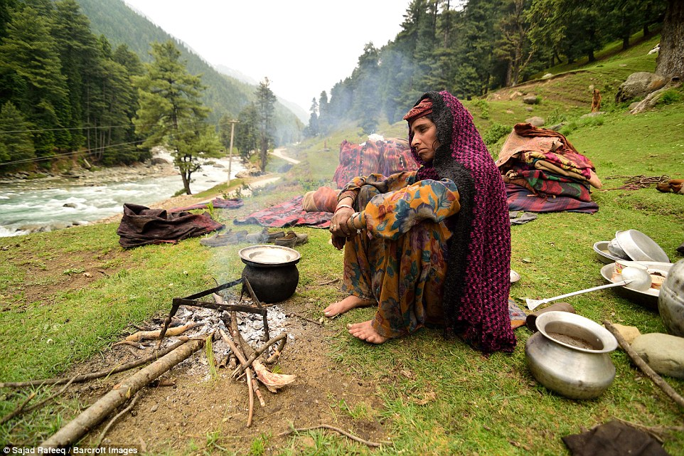 A Bakarwal woman cooks for her family  in Pahalgam. In summer, the groups migrate to upper reaches of the valley and in winter, they take their flocks to the lower areas of the valley to protect themselves from the harsh cold