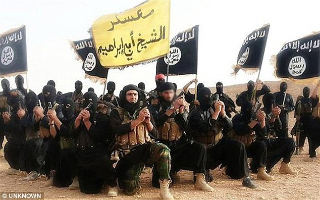 Brutal: The 25 men had been tied together with a rope and lowered in 'a large basin containing nitric acid' in Mosul, Iraq, after ISIS accused them of spying for the government (file photo)