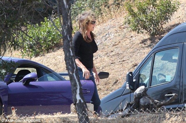 Wheely proud:Caitlyn has shown off her new wheels to friends over the last week, and was seen visiting daughter Kylie Jenner on the set of a beach shoot in California this week