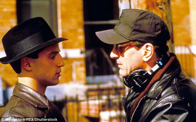 Lillo Brancato is pictured left facing Robert de Niro during the filming of the 1993 movie 'A Bronx Tale'