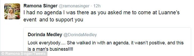 Protesting: The RHONY vet said she had no agenda and was just at the party to be supportive