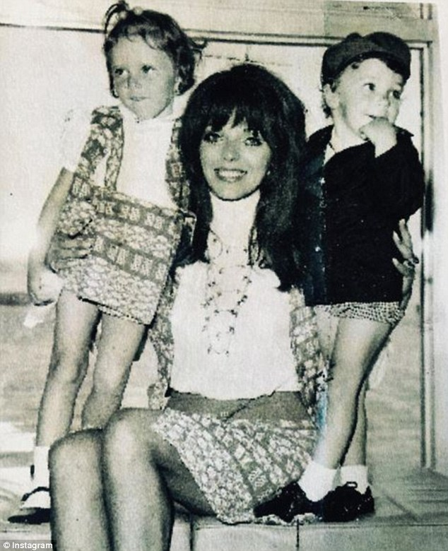 Throwback: Joan posted this photo of herself with her children Tara (left) and Sacha (Newly) to celebrate Mother's Day in the UK