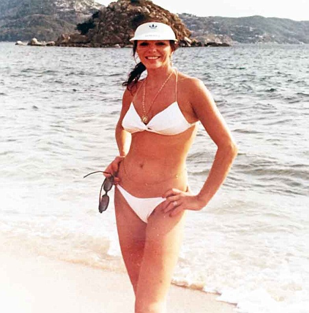 Looking good: Joan Collins, 82, took to Instagram on Thursday to share this throwback photo of herself modeling a tiny white bikini in Acpulco in 1978