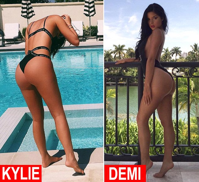 Cheeky: The stars have both racked up quite the following for their revealing poses, though admittedly Kylie boasts a more impressive 61.3M followers, while Demi has 2.2M