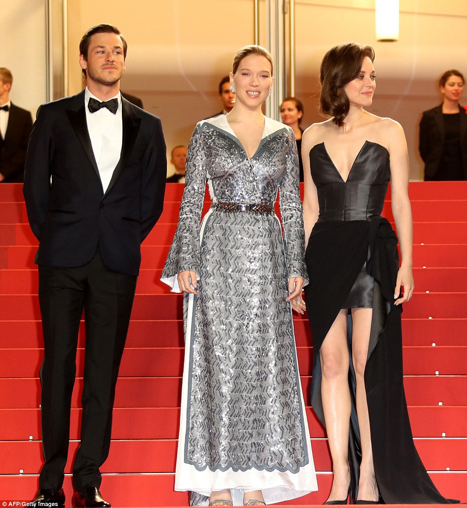 Three's a cool crowd: French actor Gaspard Ulliel, ench actress Lea Seydoux and French actress Marion Cotillard