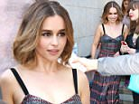 """Emilia Clarke wears a low cut cleavage bearing dress while leaving Cineplex VIP Yonge-Eglinton Theater in Toronto, Canada. The Game of Thrones actress, Emilia Clarke was seen leaving a special screening and cocktail reception for her new movie """"Me Before You"""" which she was promoting in Toronto.  Pictured: Emilia Clarke Ref: SPL1285277  180516   Picture by: S Fernandez  / Splash News  Splash News and Pictures Los Angeles: 310-821-2666 New York: 212-619-2666 London: 870-934-2666 photodesk@splashnews.com"""