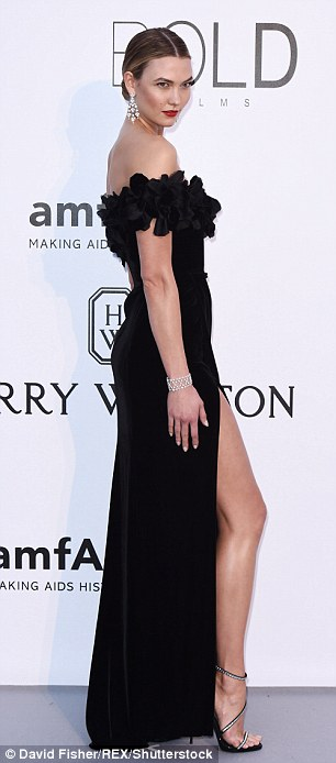 Making an entrance:was easily one of the best dressed on the red carpet in her stunning black gown