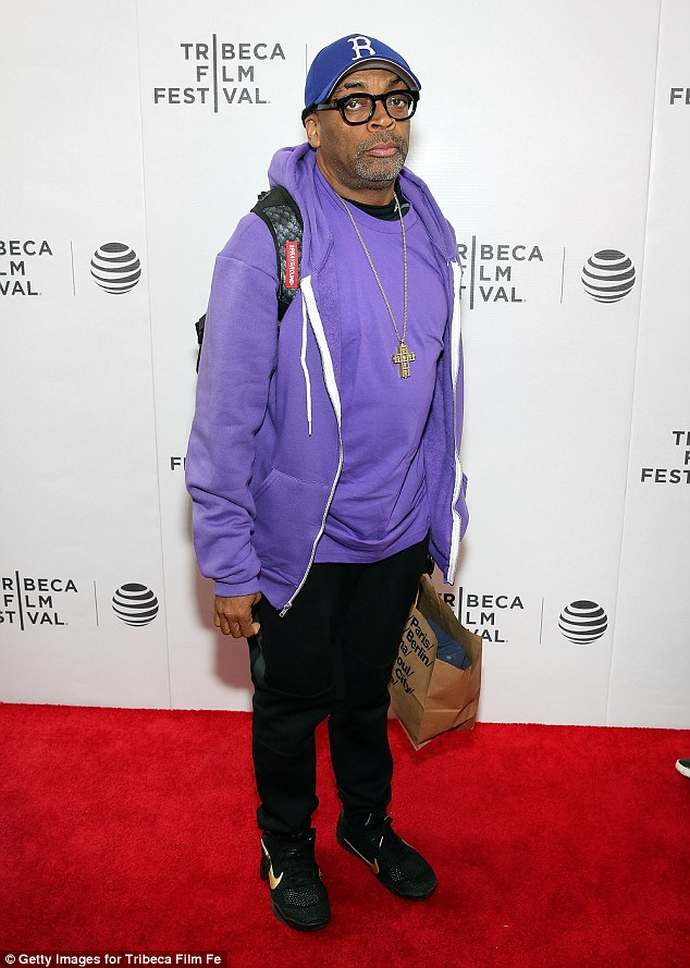 Meaningful: Friend and filmmaker Spike Lee donned a purple hoodie and hat combination when he heard the sad news of the Purple Rain singer's death while attending the Tribeca Film Festival