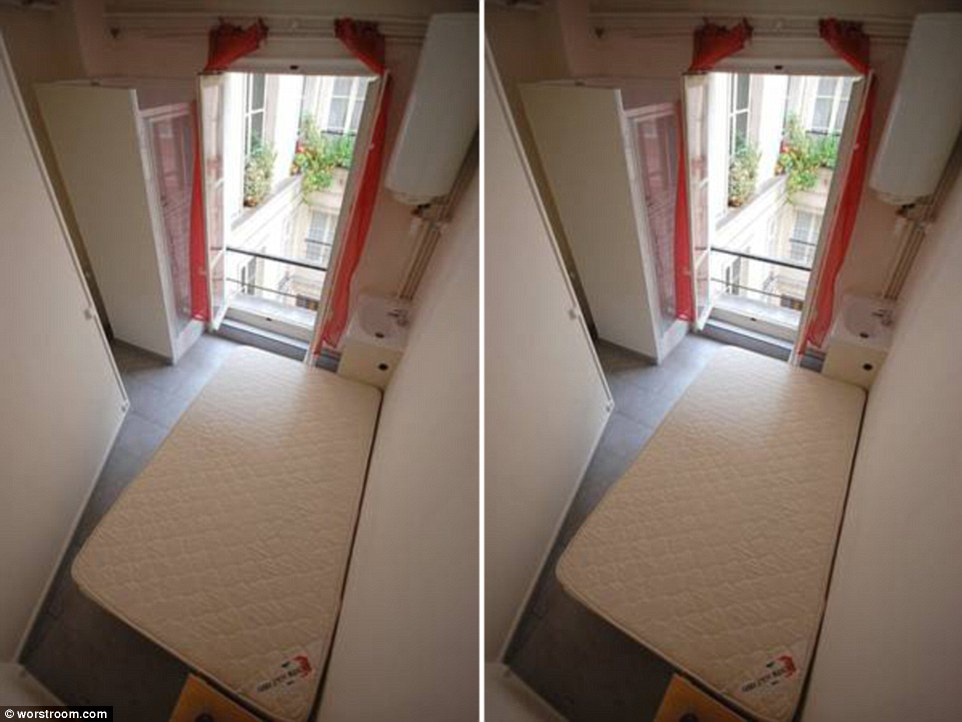 Welcome to the city of love: The room for rent in Paris which is 'good for one' but at least there's a little balcony to escape on