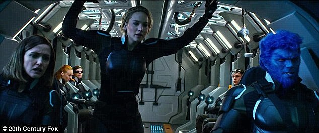 Ancient mutant: Jennifer is shown with Rose and Nicholas in a still from X-Men: Apocalypse