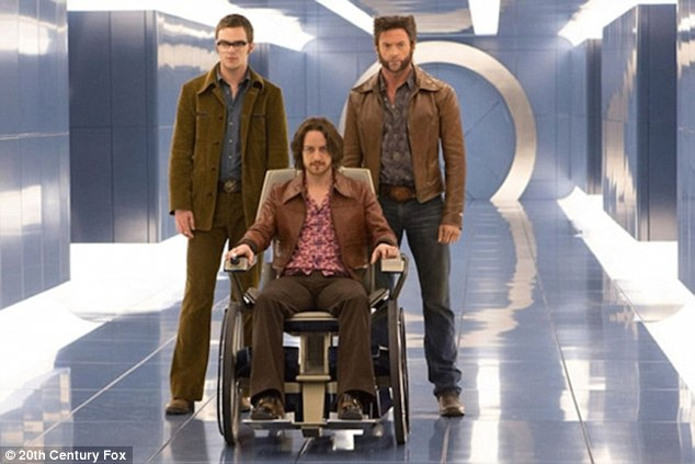Second one: Hoult and McAvoy are shown with Hugh Jackman in a still from X-Men: Days Of Future Past
