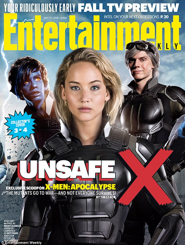 Cover girl: Jennifer Lawrence graced one of four covers Entertainment Weekly devoted to X-Men Apocalypse and discussed her ambivalence about returning to the franchise