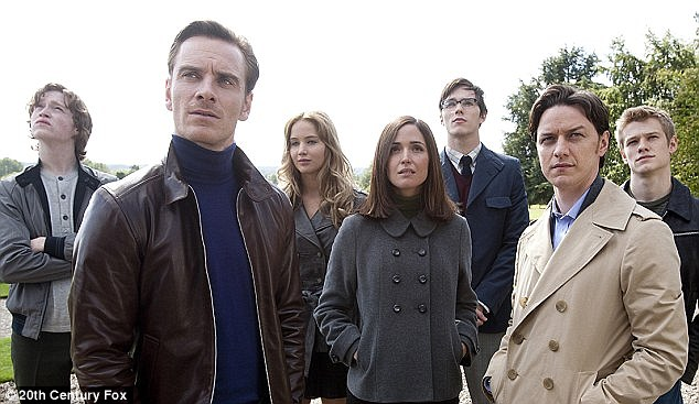 First film: Jennifer, Michael Fassbender, Nicholas Hoult and James McAvoy are shown with Rose Byrne in a still from X-Men: First Class