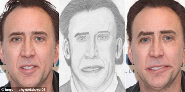 Not a good look: Actor Nicholas Cage has a wonky smile to match his wonky portrait