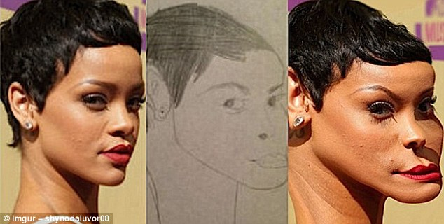 Is that you, Ri Ri?Songstress Rihanna is given a dramatically protruding chin and bulging forehead