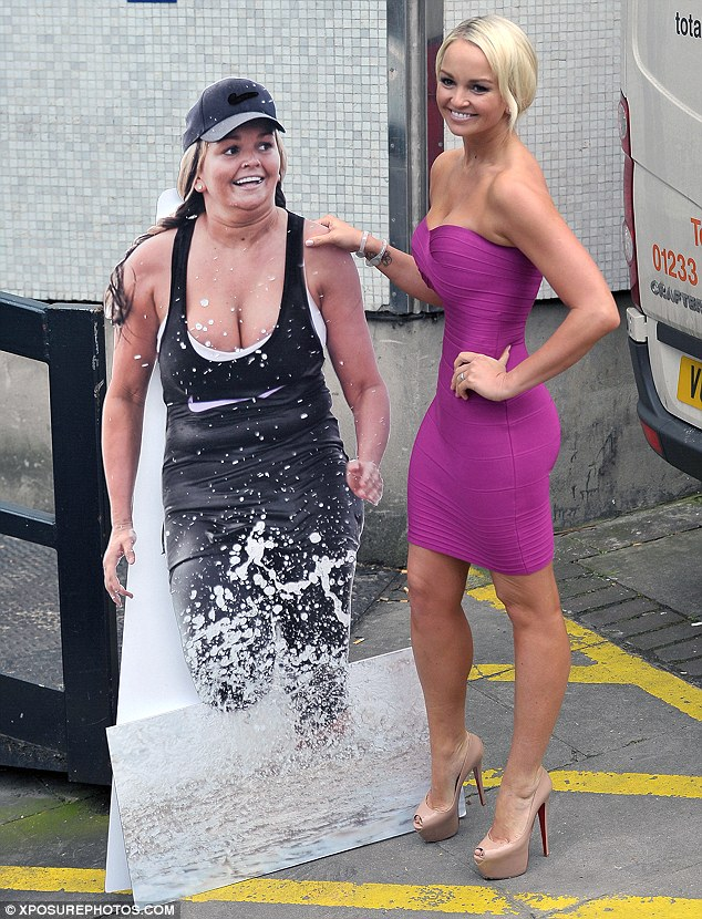 What now? Jennifer Ellison posed outside the ITV studios with a cardboard cut-out of her former self, after telling Loose Women her dancing on Ice partner Dan Whiston was injured