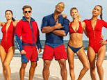 (L-R) Jon Bass plays Ronnie, Alex Daddario plays Summer, Zac Efron plays Matt Brody, Dwayne Johnson plays Mitch Buchannon, Kelly Rohrbach plays CJ Parker, and Ilfenesh Hadera plays Stephanie Holden in BAYWATCH; the film by Paramount Pictures