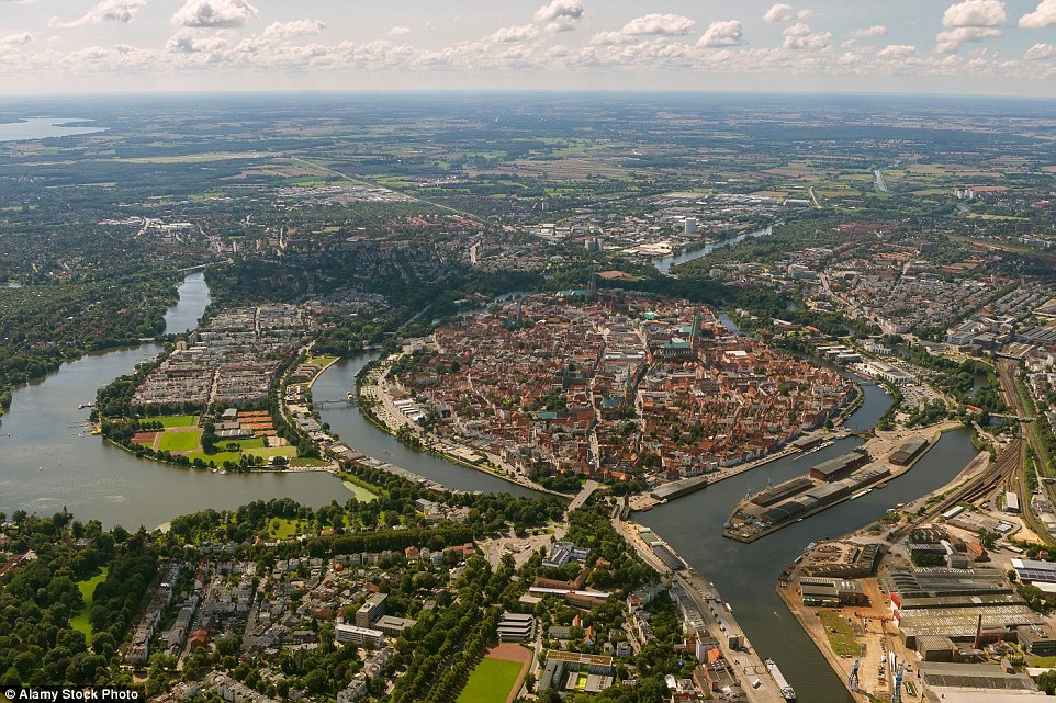 The old town of Lubeck is situated on an island, surrounded by waterways. It's now part of the Unesco World Heritage List