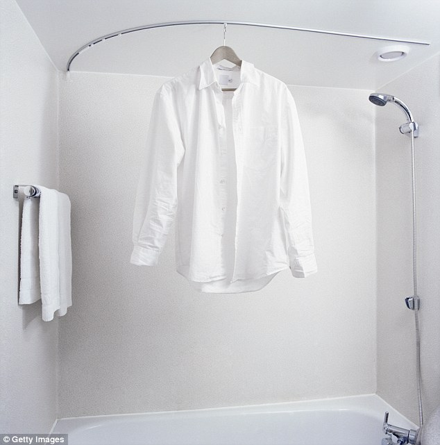Genius: The steam generated by the hot water will help get rid of the wrinkles in your clothes