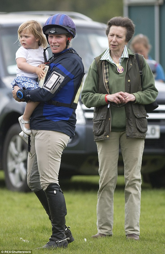 Mia with her mother Zara Tindall and Princess Anne at the Badminton Horse Trials earlier this month