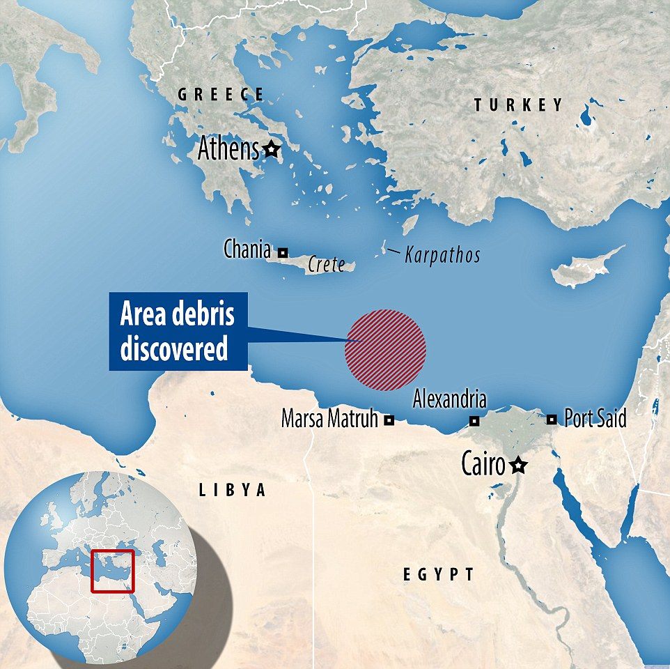 Hunt: A Greek frigate found two large plastic objects floating about 230 miles south of the island of Crete, Greek defence sources said