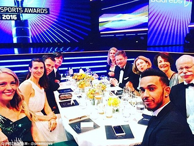 By your side: Petra (left) documented the sporting bash on Instagram last month, giving her 91,100 followers an insight into the star-studded bash where she sat next to Lewis at the Mercedes table