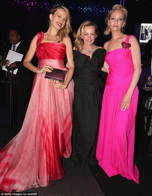 The A-listers: Petra poses with Caroline Scheufele and actress Ima Thurman