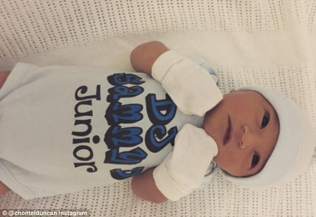 Proud mum: On Good Friday, the bronzed fitness pro gave birth to her beautiful baby boy, Jeremiah Thomas Duncan