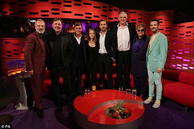All star company: Elton (second right with his friend) joins host Graham Norton (left) and A-list guests (from left) Russell Crowe, Tom Daley, Jodie Foster, Ryan Gosling, Greg Davies