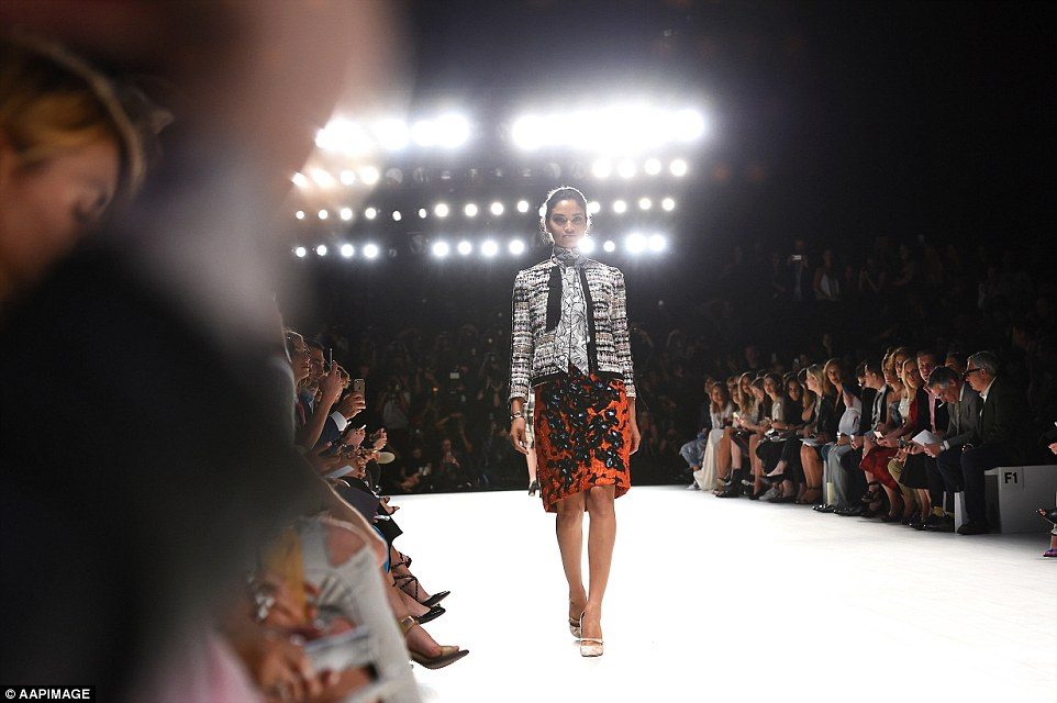 Full house: The fashion pack squeezed in to the front row for the coveted show