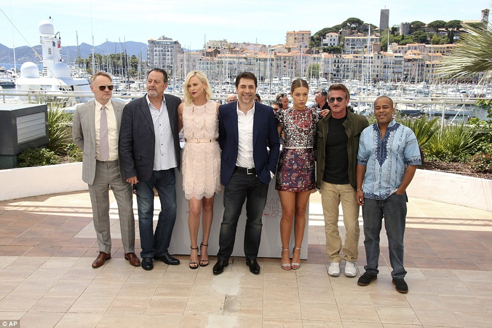 Not together then? The duo buried themselves within their co-stars (from left)Jared Harris, Jean Reno, Javier Bardem, Adele Exarchopoulos and Zubin Cooper