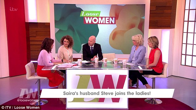 Steven joined the panellists on Loose Women to discuss his wife's revelation. Hehe was 'pretty devastated' when his wife first suggested he sleep with someone else, saying: 'It's nothing that i would even contemplate'