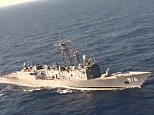 """In this Thursday, May 19, 2016 video image released by the Egyptian Defense Ministry, an Egyptian plane flies over a ship during the search in the Mediterranean Sea for the missing EgyptAir flight 804 plane which crashed after disappearing from the radar early Thursday morning while carrying 66 passengers and crew from Paris to Cairo. The Egyptian army said Friday, May 20, 2016 that it has found wreckage of the missing Airbus 320 (290 kilometers) north of the city of Alexandria, Egypt. Logo in top left corner of the Egyptian Defense Ministry. Arabic at right reads, """"The search of the missing plane."""" (AP Photo/Egyptian Defense Ministry)"""