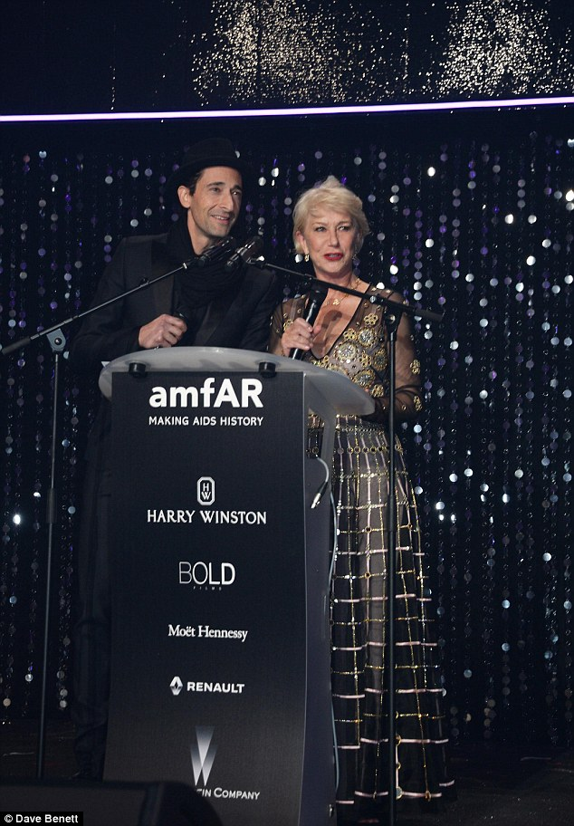 A fine pair: Helen was joined on stage by Adrien Brody for a chat with the star-studded audience