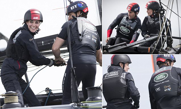 Kate Middleton, Duchess of Cambridge visits Ben Ainslie Racing in Portsmouth