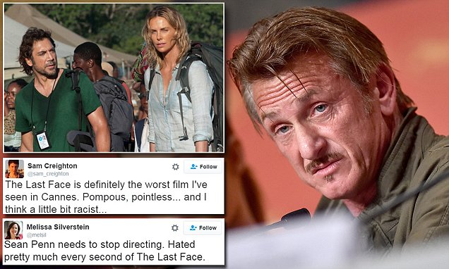 Sean Penn's film The Last Face is savaged after Cannes premiere, with viewers laughing,