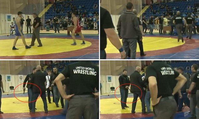 Video of Russian wrestler's bodyguard waving gun at victor who defeated him in Stary Oskol
