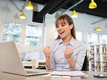 DT4NGM Smiling Business woman cheerful desk satisfaction