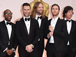 HOLLYWOOD, CA - FEBRUARY 22:  Michael Madden, PJ Morton, Adam Levine, James Valentine, Jesse Carmichael, and Matt Flynn of Maroon 5  attends the 87th Annual Academy Awards at Hollywood & Highland Center on February 22, 2015 in Hollywood, California.  (Photo by Jason Merritt/Getty Images)