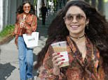 Vanessa Hudgens wearing a Floral shirt, sunglasses and blue denim bell bottom jeans was seen with friends picking up coffee on Melrose Place in West Hollywood, CA\n\nPictured: Vanessa Hudgens\nRef: SPL1287098  200516  \nPicture by: SPW / Splash News\n\nSplash News and Pictures\nLos Angeles: 310-821-2666\nNew York: 212-619-2666\nLondon: 870-934-2666\nphotodesk@splashnews.com\n